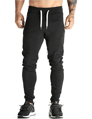 Męskie Vintage Rurki Spodnie dresowe Spodnie - Plisy, Jendolity kolor