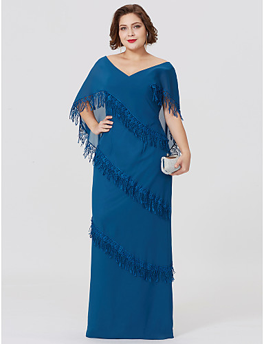 Sheath / Column V Neck Floor Length Chiffon Mother of the Bride Dress with Tiered by LAN TING BRIDE®