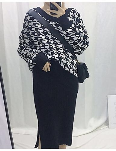 Damen Standard Pullover-Lässig/Alltäglich Solide Rundhalsausschnitt Langarm Andere Mittel Mikro-elastisch