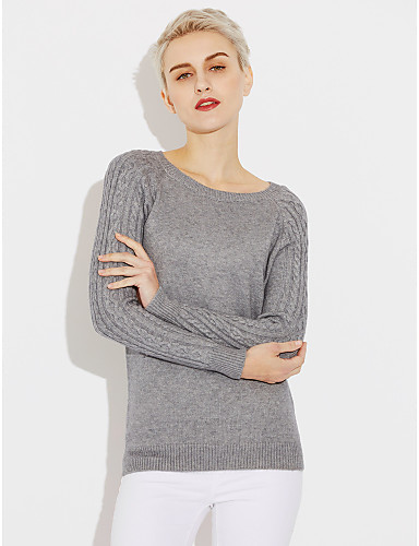Women's Long Sleeves Pullover - Solid