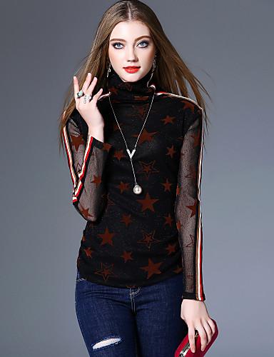 billige Dametopper-Rullekrage T-skjorte Dame - Geometrisk Vintage