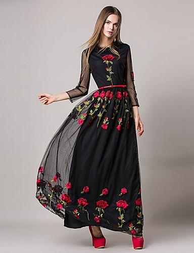 Damen Hülle Kleid Solide Blumen Knielang Hohe Taillenlinie
