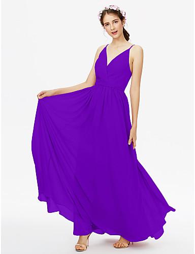 344fcf25305 A-Line V Neck Floor Length Chiffon Bridesmaid Dress with Sash   Ribbon    Criss Cross   Pleats by LAN TING BRIDE®   Open Back