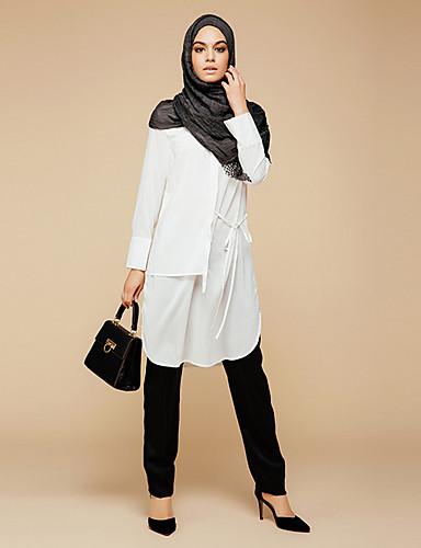 Damen Solide - Retro Baumwolle Hemd