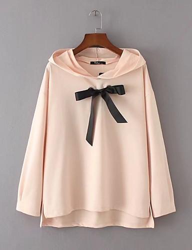 Damen Kapuzenshirt Ausgehen Lässig/Alltäglich Niedlich Aktiv Solide Einfarbig Mikro-elastisch Baumwolle Andere