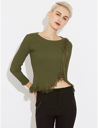 Women's Going out Street chic Long Sleeve Cotton / Acrylic Pullover - Solid Colored, Tassel / Fall / Winter