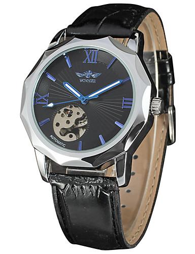 WINNER Męskie Nakręcanie automatyczne zegarek mechaniczny Zegarek na nadgarstek Chiński Hollow Grawerowanie Skóra Pasmo Luksusowy Vintage