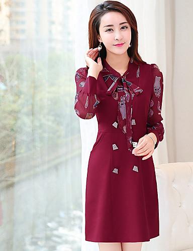 Damen Hülle Kleid-Ausgehen Solide Druck V-Ausschnitt Übers Knie Langärmelige Polyester Winter Hohe Taillenlinie Mikro-elastisch