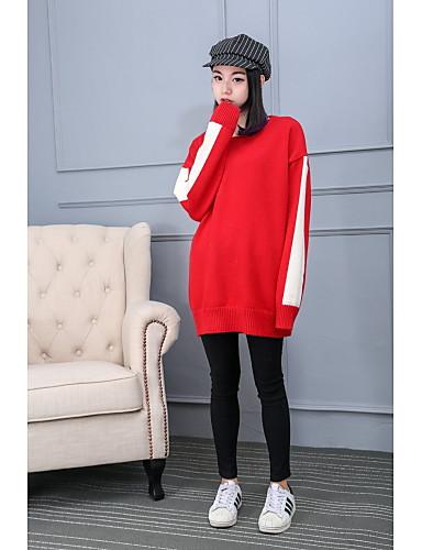 Damen Lang Pullover-Ausgehen Lässig/Alltäglich Solide Einfarbig Rundhalsausschnitt Langarm Baumwolle Dünn Mittel Mikro-elastisch