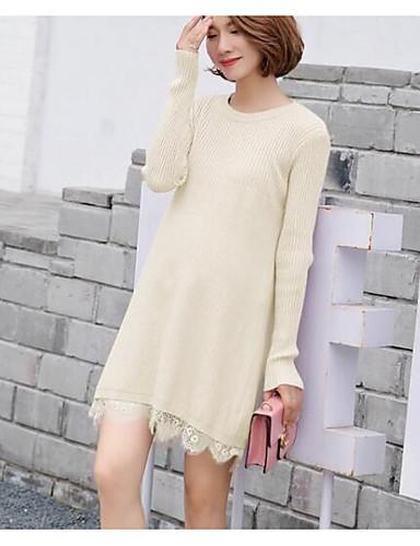 Damen Hülle Kleid-Lässig/Alltäglich Einfach Solide Rundhalsausschnitt Übers Knie Langarm Baumwolle Mittlere Hüfthöhe Mikro-elastisch