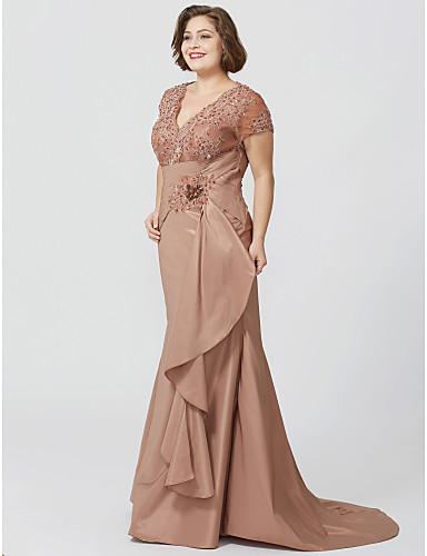 Sellő fazon V-alakú Földig érő Seprő uszály Taft Gyöngyös csipke Örömanya ruha val vel Virág által LAN TING BRIDE®