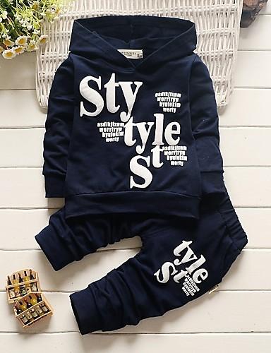 Komplet odzieży Bawełna Akryl Dla chłopców Litera Na każdy sezon Długi rękaw Urocza Na co dzień Aktywny Navy Blue Gray
