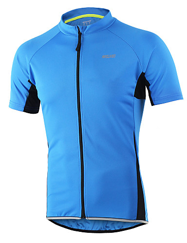cheap Cycling Clothing-Arsuxeo Men's Short Sleeve Cycling Jersey - Light Yellow Light Blue Dark Gray Solid Color Bike Jersey Top Breathable Quick Dry Anatomic Design Sports 100% Polyester Mountain Bike MTB Road Bike Cycling