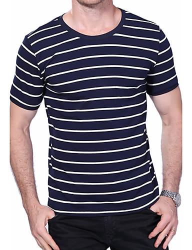 Herrn Gestreift Übergrössen T-shirt, Rundhalsausschnitt Baumwolle