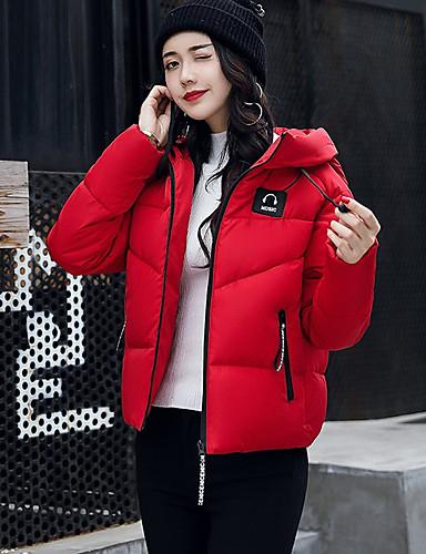 Damen Gefüttert Mantel,Kurz Einfach Ausgehen Lässig/Alltäglich Solide-Polyester Langarm