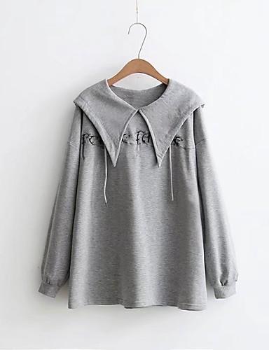 Damen Kapuzenshirt Ausgehen Lässig/Alltäglich Niedlich Aktiv Solide Druck Mikro-elastisch Baumwolle
