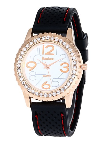 Damskie Zegarek na nadgarstek Chiński sztuczna Diament Silikon Pasmo Vintage / Na co dzień / Do sukni / garnituru Biały / Czerwony / Rok
