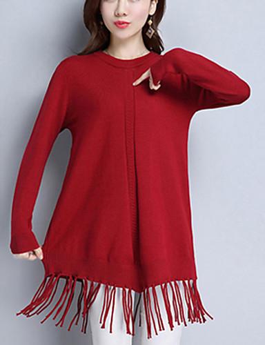 Damen Ausgehen Langarm Pullover - Solide, Quaste