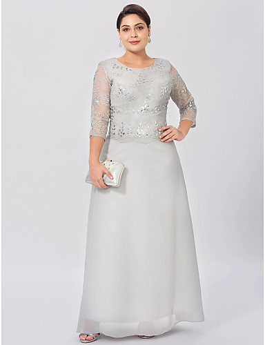 Sheath / Column Jewel Neck Ankle Length Chiffon Beaded Lace Mother of the Bride Dress with Crystal Detailing by LAN TING BRIDE®