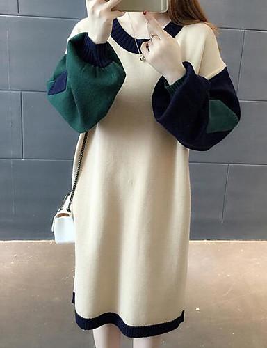 Damen Lose Kleid-Lässig/Alltäglich Einfarbig Rundhalsausschnitt Übers Knie Langarm Baumwolle Mittlere Hüfthöhe Mikro-elastisch Mittel