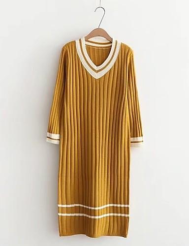 Damen Lang Pullover-Lässig/Alltäglich Ausgehen Solide Einfarbig V-Ausschnitt Langarm Andere Dick Mittel Mikro-elastisch