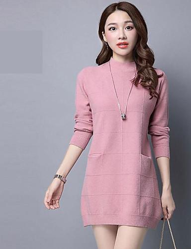 Damen Ausgehen Anspruchsvoll Langarm Pullover - Solide