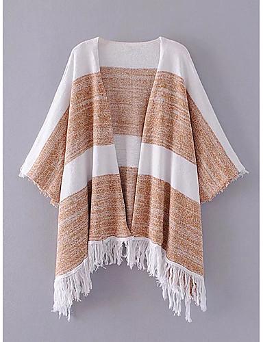 Damen Standard Mantel / Capes-Ausgehen Lässig/Alltäglich Einfarbig V-Ausschnitt Langarm Baumwolle Andere Dünn Mittel Mikro-elastisch