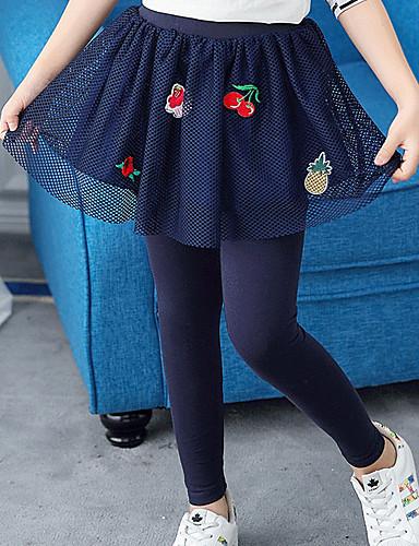 Spodnie Bawełna Poliester Dla dziewczynek Jendolity kolor Haft Wiosna Jesień Urocza Na co dzień Aktywny Kreskówka Navy Blue Gray