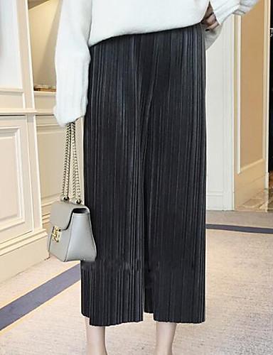 Damen Hose Mikro-elastisch Breites Bein Hose Gestreift