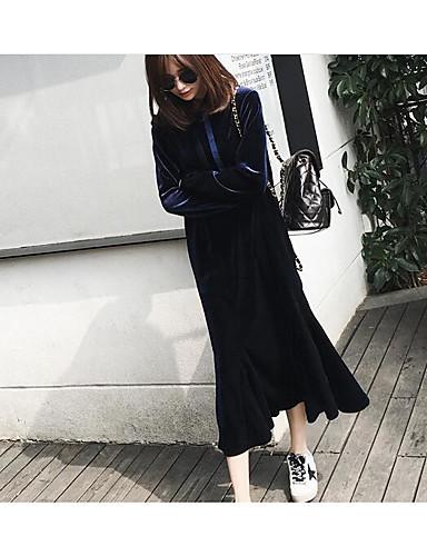 Damen Lose Kleid-Ausgehen Solide Rundhalsausschnitt Übers Knie Langarm Polyester Ganzjährig Mittlere Taillenlinie Mikro-elastisch Mittel