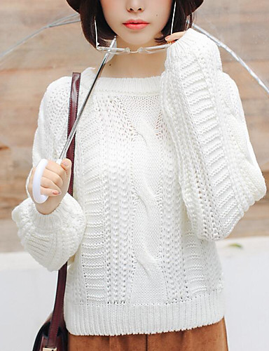 Damen Alltag Solide Langarm Standard Strickjacke, Rundhalsausschnitt Herbst / Winter Baumwolle Weiß / Rosa