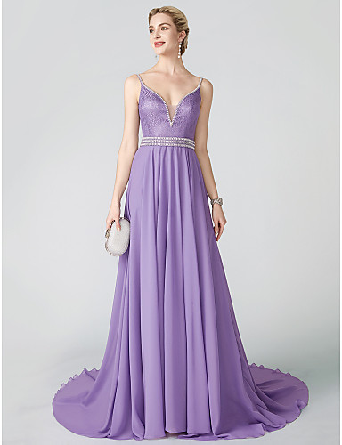 cheap Evening Dresses-Ball Gown Plunging Neck Court Train Chiffon / Metallic Lace Cocktail Party / Formal Evening Dress with Beading / Sash / Ribbon / Pleats by TS Couture®