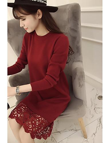 Damen Hülle Kleid-Ausgehen Lässig/Alltäglich Solide Rundhalsausschnitt Übers Knie Langarm Baumwolle Hohe Taillenlinie Mikro-elastisch