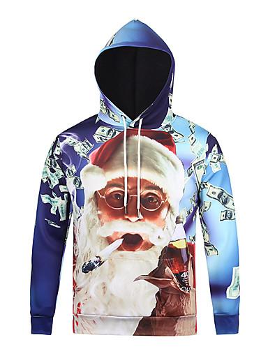 Męskie Na co dzień Aktywny Moda miejska Długi rękaw Bluza z Kapturem - Wielokolorowa 3D Print Kaptur
