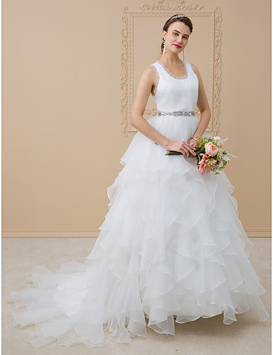 A-Line Scoop Neck Sweep / Brush Train Chiffon / Tulle Made-To-Measure Wedding Dresses with Appliques by LAN TING BRIDE®