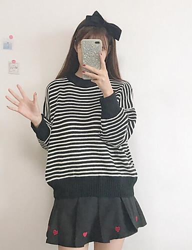 Damen Standard Pullover-Lässig/Alltäglich Gestreift Ständer Langarm Acryl Herbst Winter Mittel Mikro-elastisch