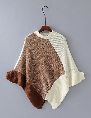 Damen Standard Pullover-Ausgehen Lässig/Alltäglich Einfarbig Rundhalsausschnitt Langarm Baumwolle Andere Mittel Dick Mikro-elastisch