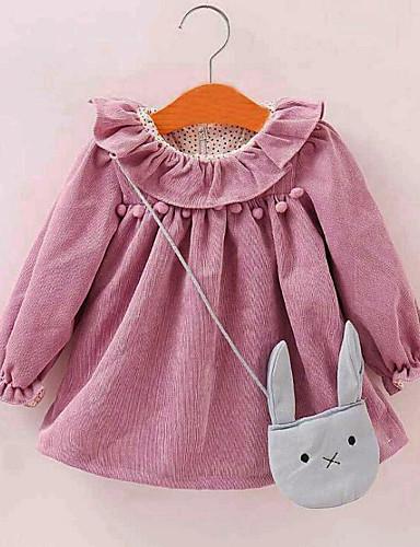 Bluzka Rayon Dla dziewczynek Jendolity kolor Wiosna Jesień Długi rękaw Urocza Czerwony Blushing Pink Purple