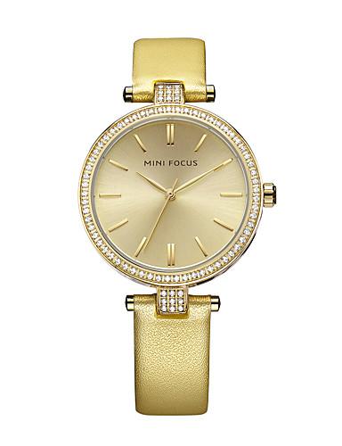 Damen Armbanduhr Modeuhr Quartz Wasserdicht Imitation Diamant Echtes Leder Band