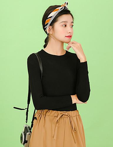 Damen Baumwolle Langarm Pullover - Solide