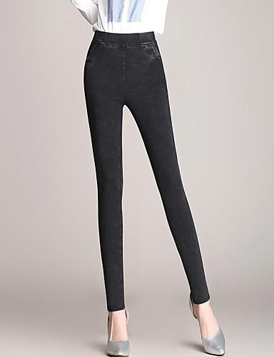 Damen Übergrössen Eng Hose,Polyester Elasthan Solide