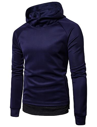 Męskie Na co dzień Długi rękaw Długi Bluzy z kapturem i bluzy - Jendolity kolor Kaptur