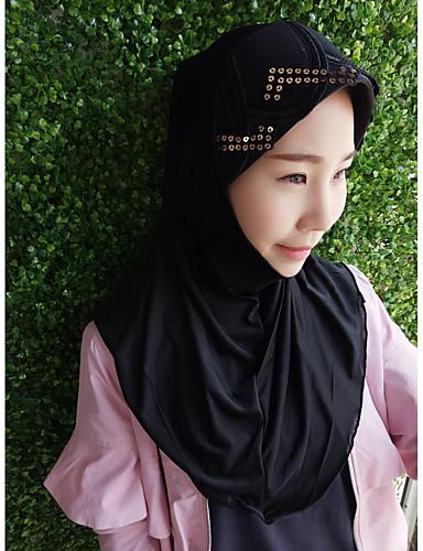 Damen Frühjahr, Herbst, Winter, Sommer Kunstseide Hidschab,Solide Schwarz
