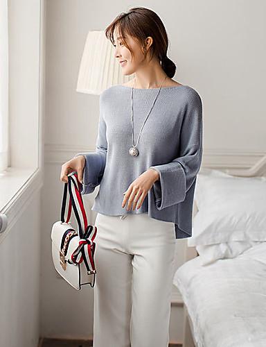Damen Standard Pullover-Festtage Arbeit Einfach Solide Rundhalsausschnitt Langarm Acryl Mittel Mikro-elastisch