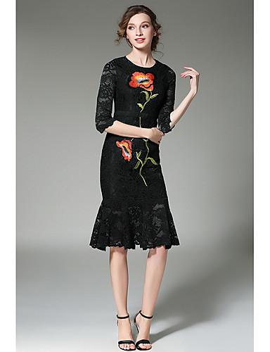 Damen Arbeit Bodycon Trompete/Meerjungfrau Kleid Stickerei
