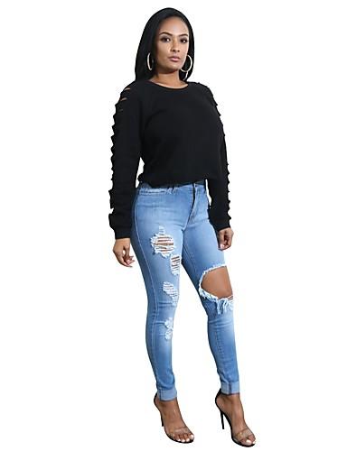 Damskie Długi rękaw Bluzy z kapturem i bluzy - Jendolity kolor, Wycięcia Sportowe