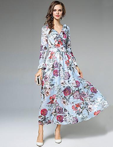 Damen A-Linie Hülle Swing Kleid-Alltag Ausgehen Blumen V-Ausschnitt Maxi Langarm Polyester Frühling/Herbst Sommer Hohe Hüfthöhe