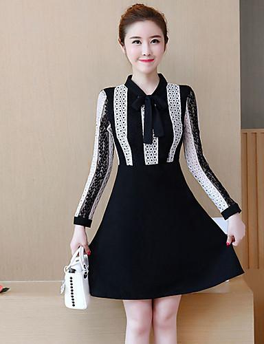 Damen Übergrössen Hülle Kleid - Schleife, Patchwork Hemdkragen