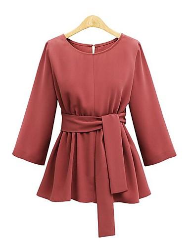 Damen Solide Lässig/Alltäglich T-shirt,Rundhalsausschnitt Langarm Polyester Mittel