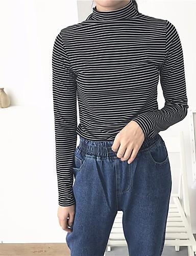 Damen Gestreift Retro Lässig/Alltäglich T-shirt,Rollkragen Langarm Andere